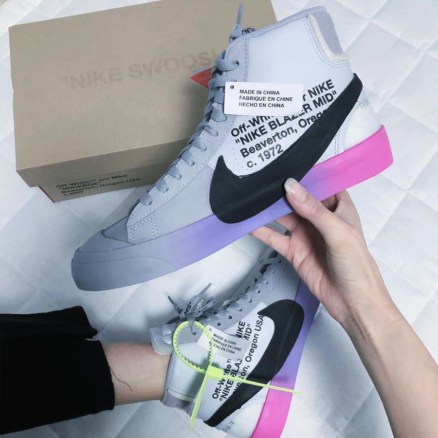 Nike Blazer Off White grise avec un dégradé rose et violet (1)