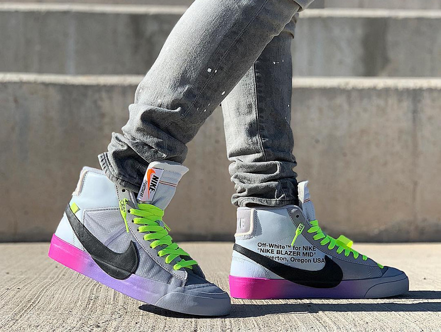 Nike Blazer Off White grise avec un dégradé rose et violet (2)