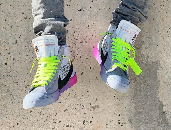 Nike Blazer Off White grise avec un dégradé rose et violet (3)