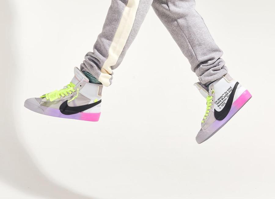 Nike Blazer Off White grise avec un dégradé rose et violet (5)