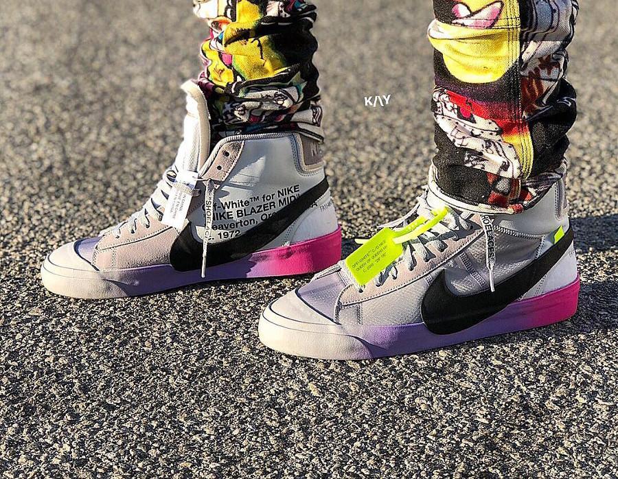Nike Blazer Off White grise avec un dégradé rose et violet (6)