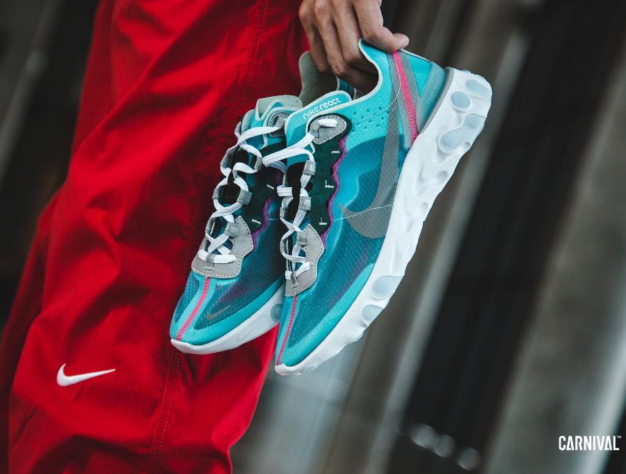 Nike React Element 87 transparente bleu turquoise et rose (1)