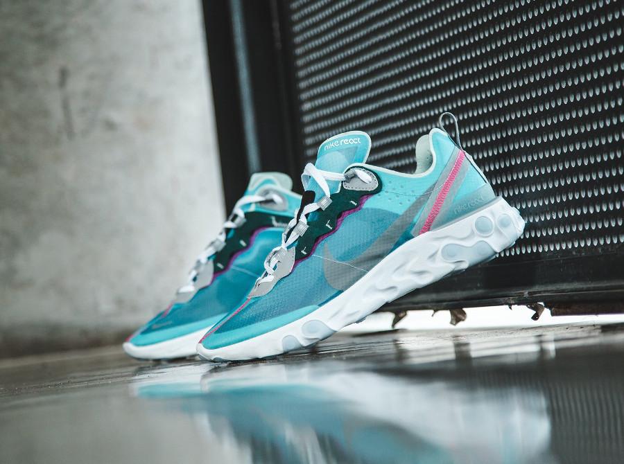 Nike React Element 87 transparente bleu turquoise et rose (3)