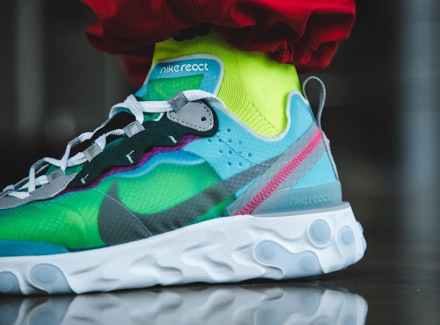 Nike React Element 87 transparente bleu turquoise et rose (5)