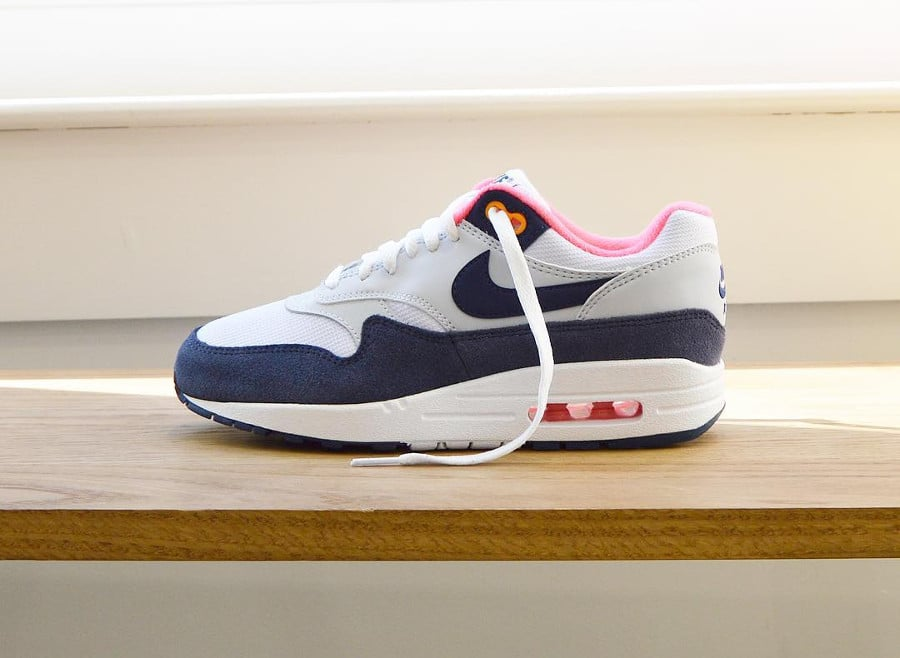 Nike Womens Air Max 1 White Midnight Navy - Pure Platinum