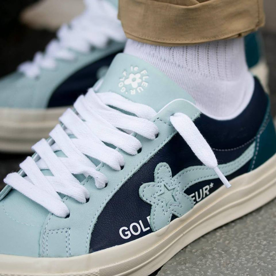Tyler The Creator x Converse One Star Ox Barely Blue Black 164024C (1)