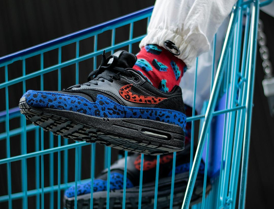 Air Max 1 Premium Black Leopard Habanero Red Racer Blue (BV1977-001)