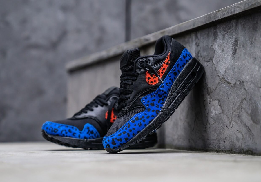 Air Max 1 Premium Black Leopard Habanero Red Racer Blue (4)