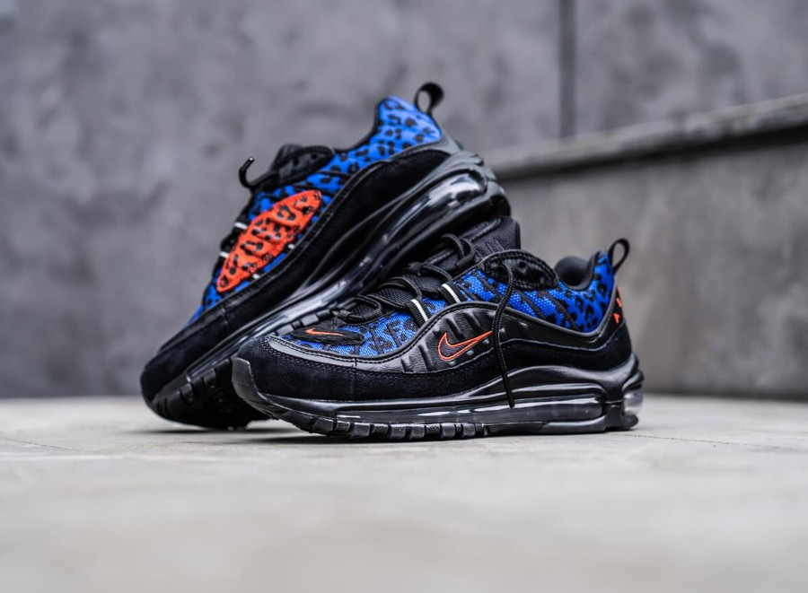 Air Max 98 Premium Black Leopard Habanero Red Racer Blue (BV1978-001)