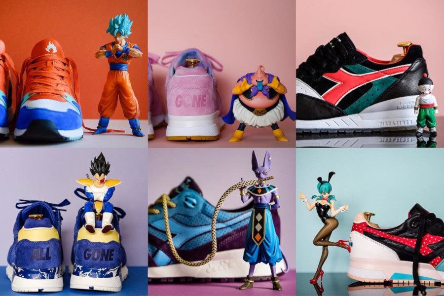 Une collab Dragon Ball Z x Diadora ? 9 paires formant un pack DBZesque