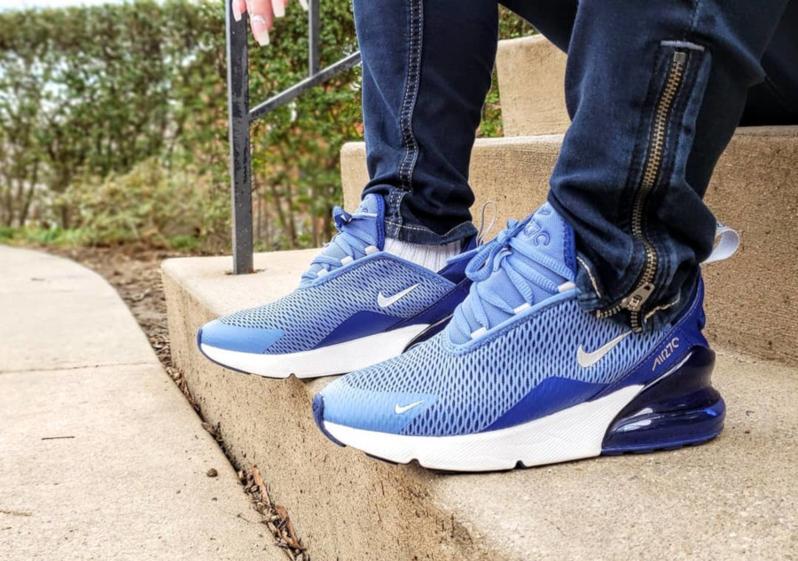 Nike Air Max 270 GS Indigo Storm Metallic Silver - @girlnherkicks