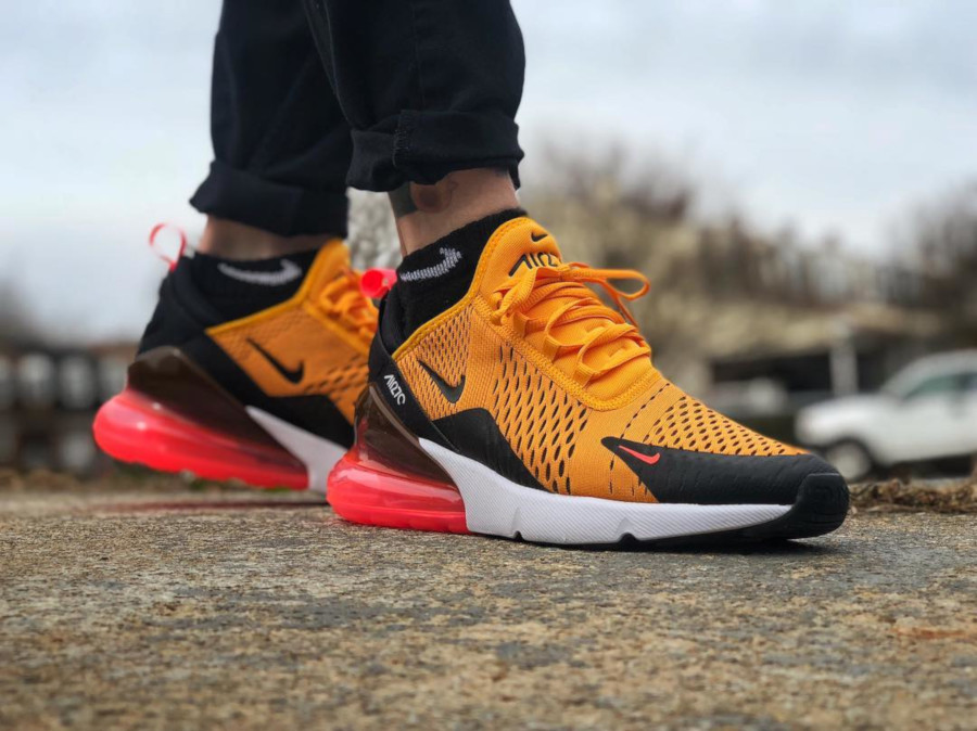 air max 270 black orange on feet