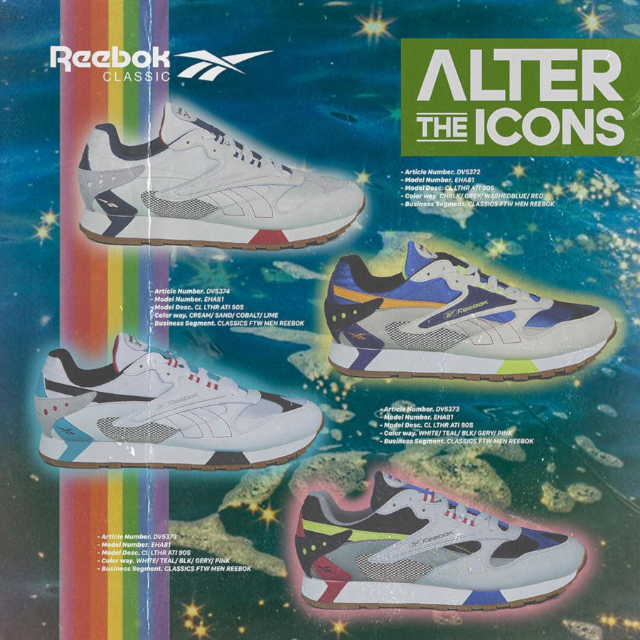Reebok Classic Leather Alter The Icons Cream Sand Cobalt Lime (1)