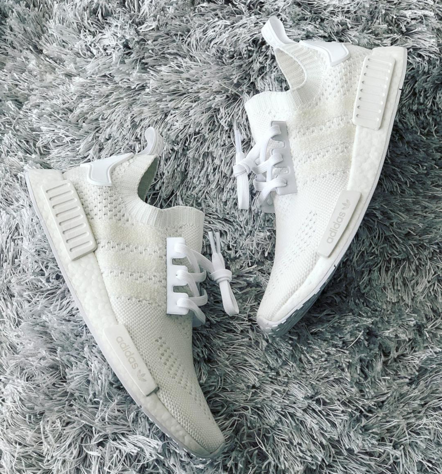 Adidas NMD R1 Primeknit FTWR White Linen Green (1)