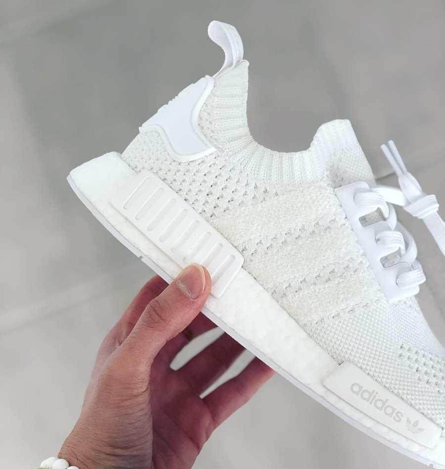 Adidas NMD R1 Primeknit FTWR White Linen Green (3)