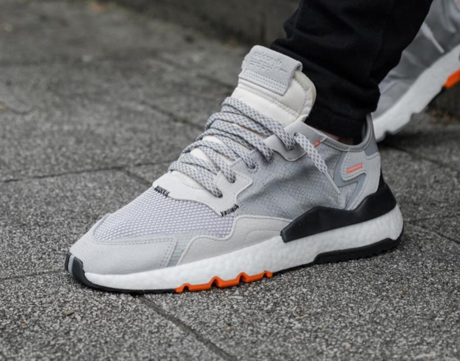 Adidas Nite Jogger grise noire et orange (2)