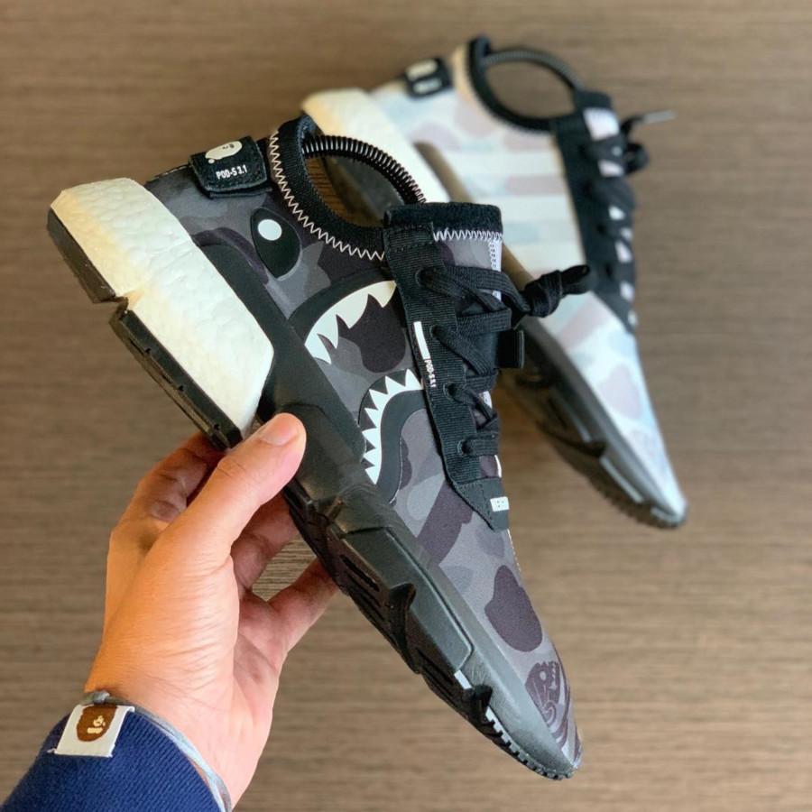 Adidas Pod S3.1 imprimé camouflage noir et blanc (tête de requin) (1)