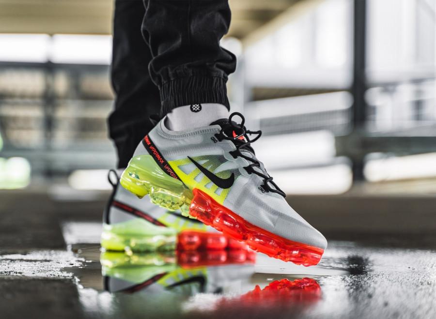 Nike Air Vapormax 2019 grise vert fluo et rouge (1)