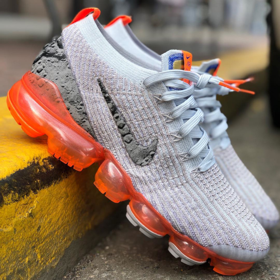 Nike Air Vapormax Flyknit 3 Atmosphere Grey Reflect Silver Orange (3)