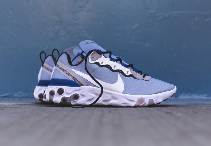 Nike React Element 55 bleu pastel et blanche (2)