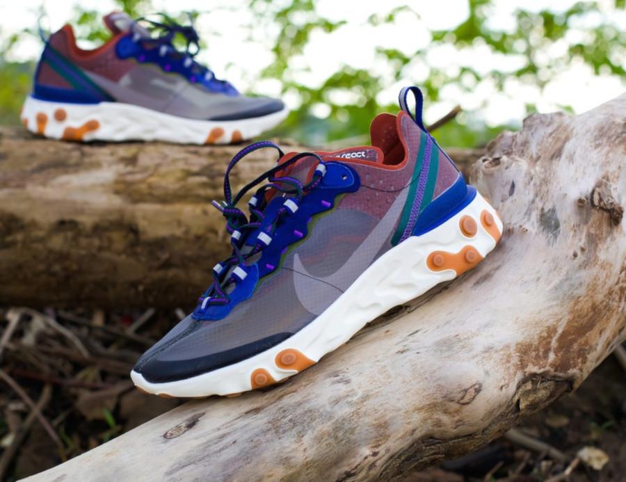 Nike React Element 87 marron violet et bleu (2)