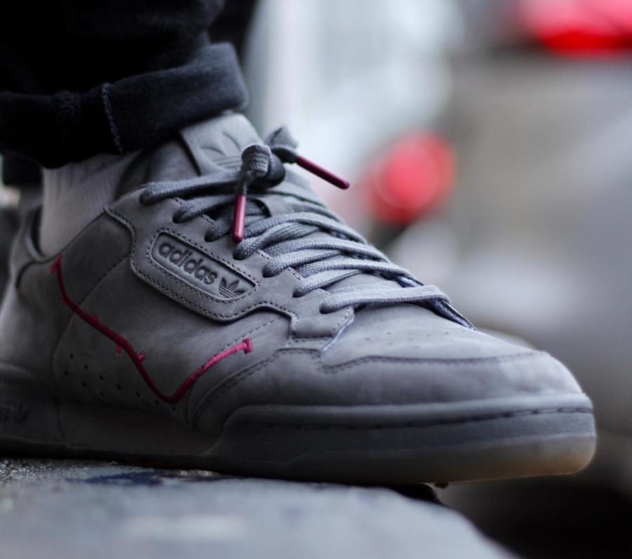 TFL x Adidas Continental 80 Oyster Club Grey Burgundy - @kickframes