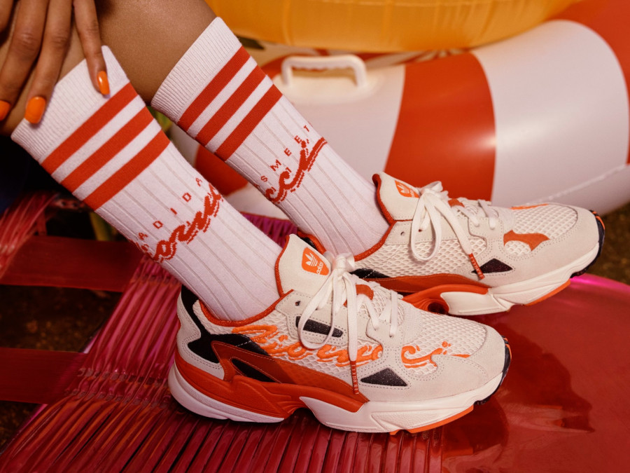 Fiorucci x Adidas Falcon W 'Off White Red Solar Orange' (2)