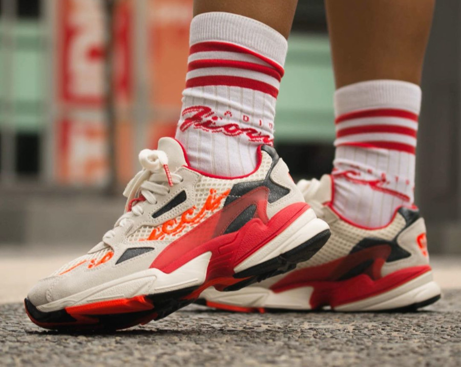 Fiorucci x Adidas Falcon W 'Off White Red Solar Orange' (3)