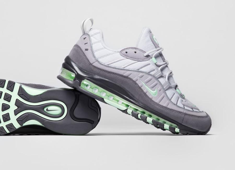 Nike Air Max 98 grise et vert menthe