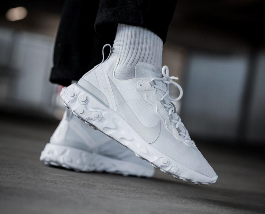 Nike React Element 55 SE blanche White Platinum (2)