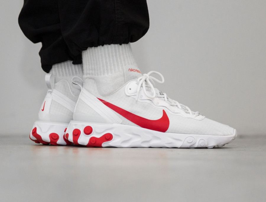 Nike React Element 55 blanche et rouge (5)