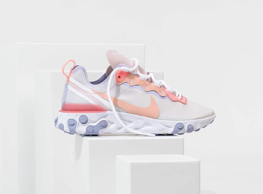 Nike Wmns React Element 55 Pale Pink Washed Coral Oxygen Purple (1)