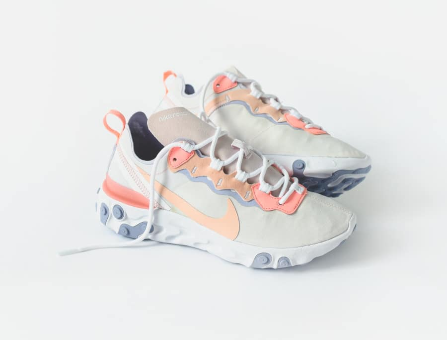 Nike Wmns React Element 55 Pale Pink Washed Coral Oxygen Purple (2)