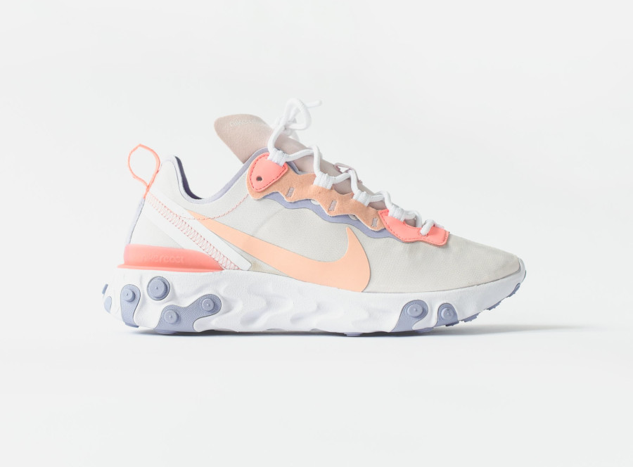 Nike Wmns React Element 55 Pale Pink Washed Coral Oxygen Purple (3)