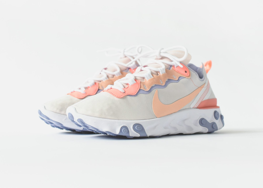 Nike Wmns React Element 55 Pale Pink Washed Coral Oxygen Purple (5)