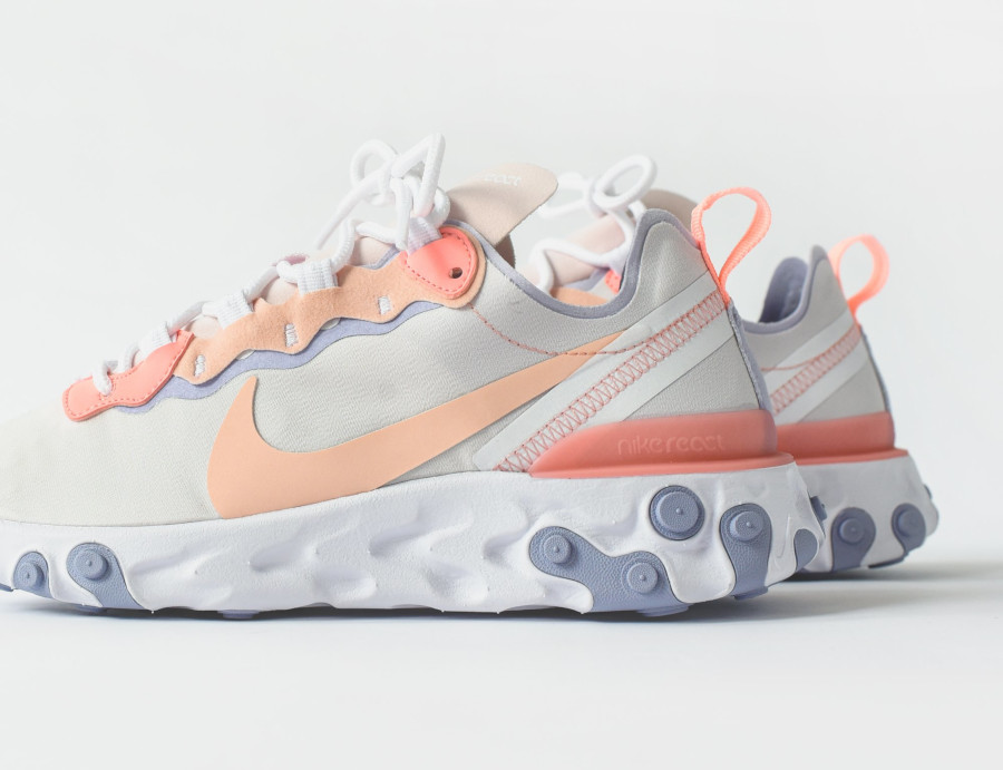 Nike Wmns React Element 55 Pale Pink Washed Coral Oxygen Purple (6)