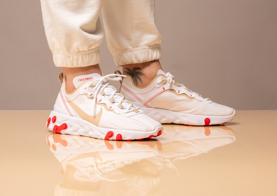 Nike Wmns React Element 55 White Desert Ore Ember Glow (4)
