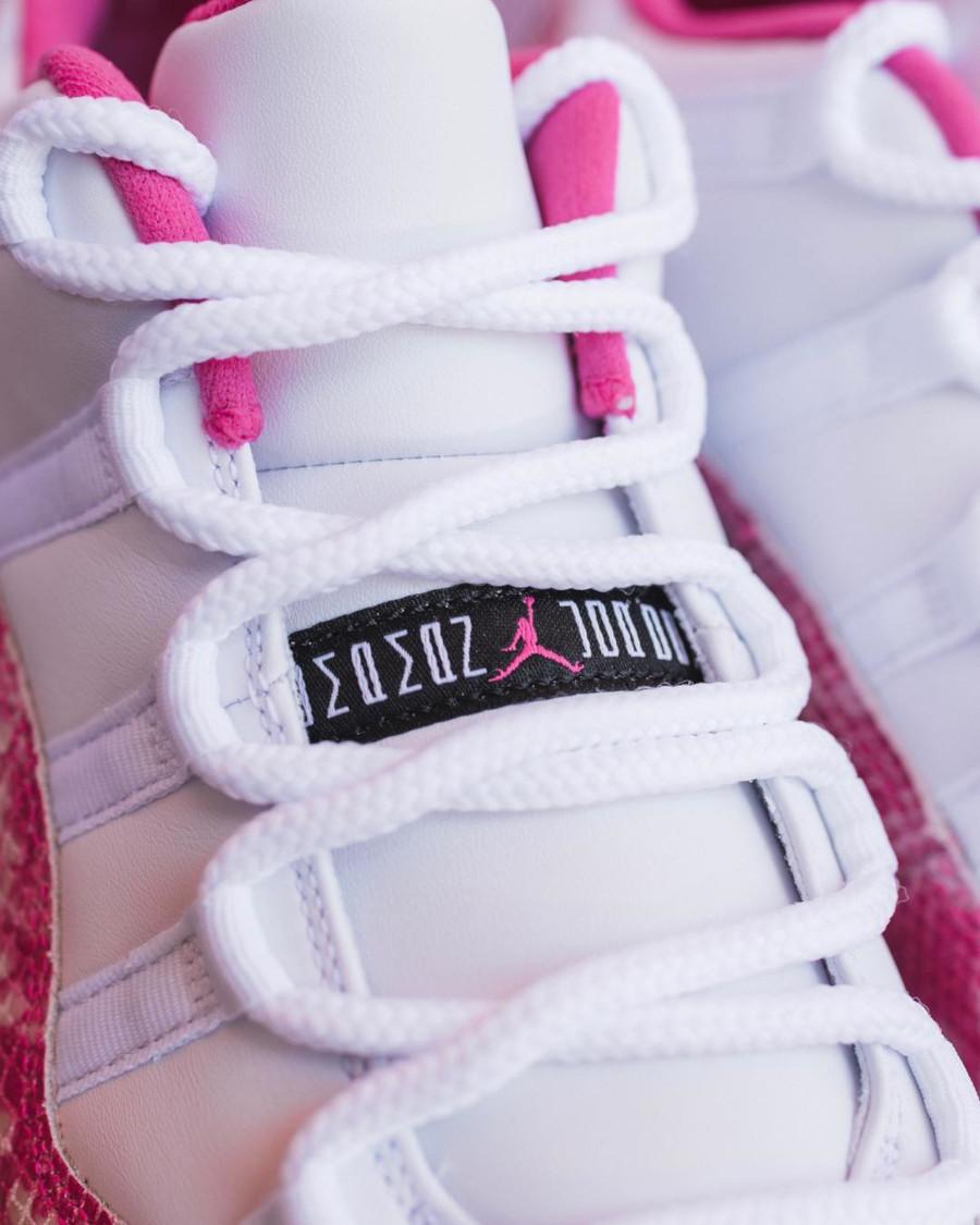 air jordan 11 low blanche avec imprimé peau de serpent rose (5)