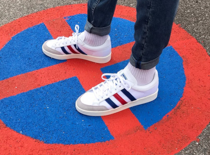 Adidas Americana Low White Blue Red on feet (2)