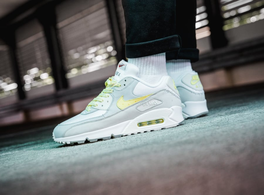Nike Air Max 90 Premium 'Side A' Lemon Frost on feet (2)