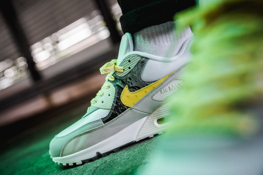 Nike Air Max 90 Premium 'Side A' Lemon Frost on feet (3)