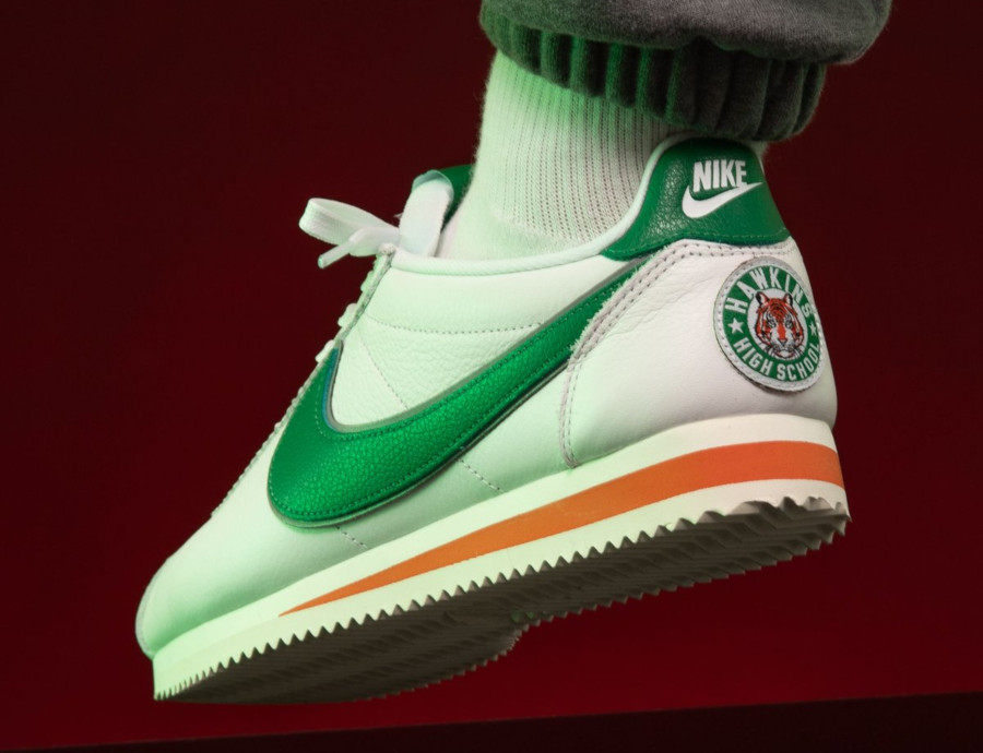 Nike Cortez White Pine Green Cosmic Clay Sail on feet CJ6106-100 (3)