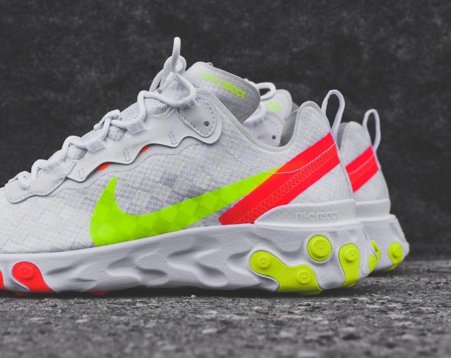 Nike React Element 55 blanche vert fluo et rouge (1)