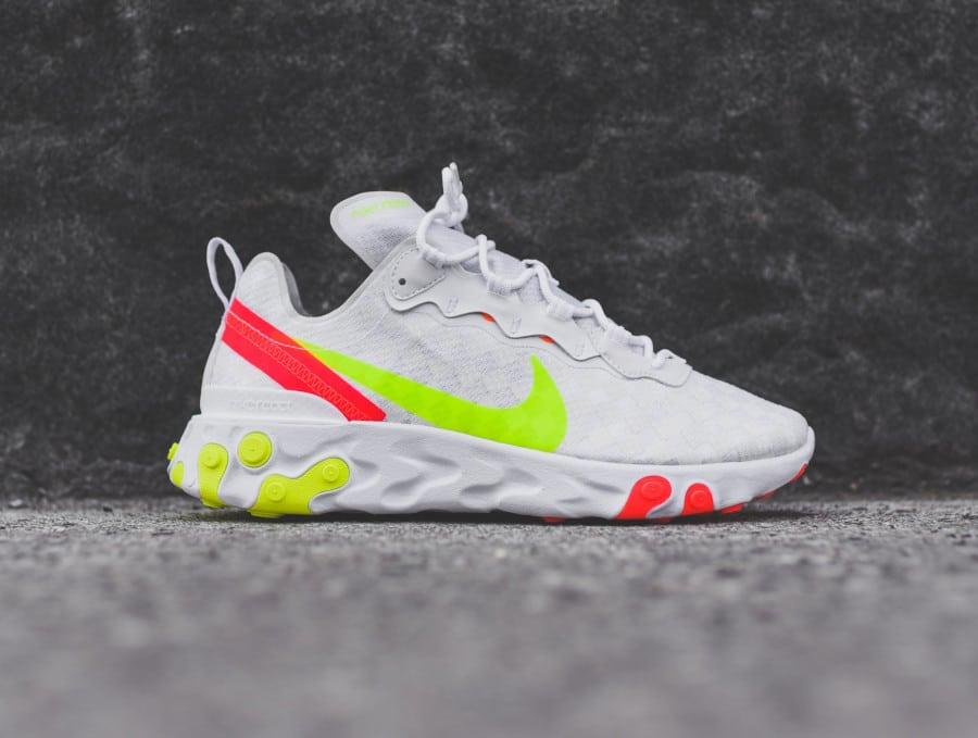 Nike React Element 55 blanche vert fluo et rouge (7)