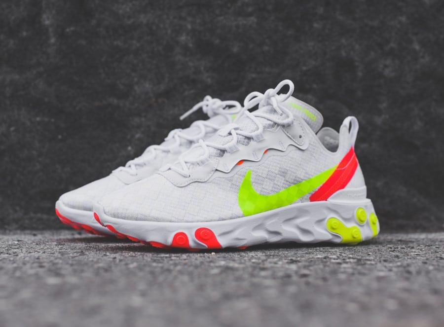 Nike React Element 55 blanche vert fluo et rouge (9)