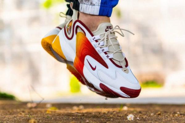 Nike Zoom 2K Sunset White Red Brown on feet