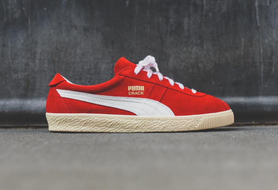 Puma Crack Heritage en suède rouge avec un logo doré (2)
