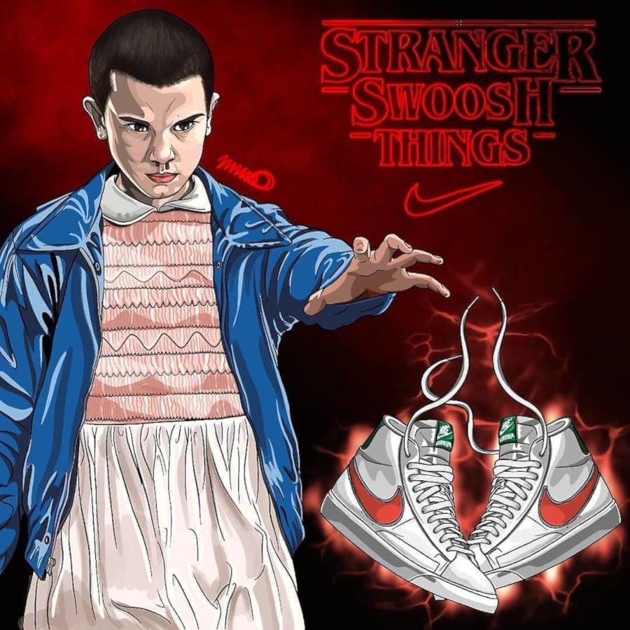 ST x Nike Blazer Mid blanche verte et orange (1)