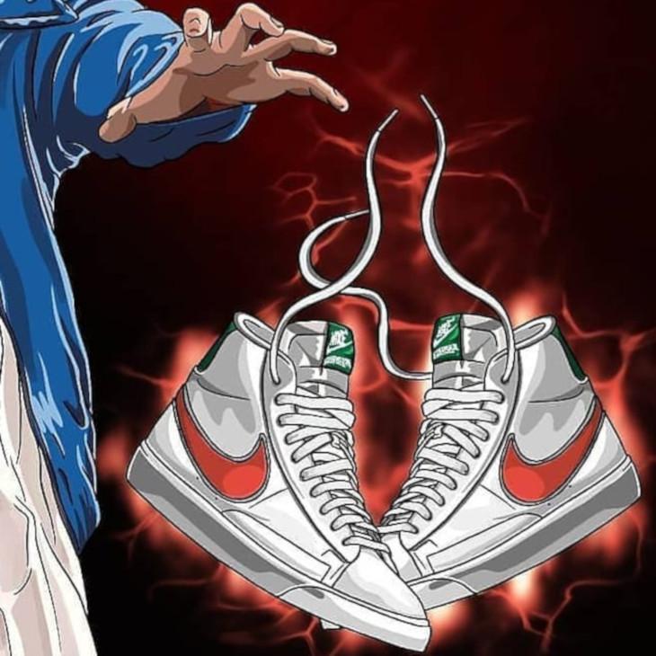 ST x Nike Blazer Mid blanche verte et orange (2)