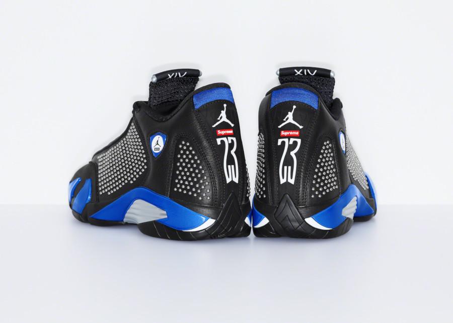 Supreme x Air Jordan XIV noire et bleue (1)